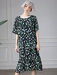 ROOM404 Women's Casual/Daily Cute Trumpet/Mermaid DressFloral Round Neck Knee-length  Length Sleeve