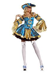 Costumes de Cosplay Costume de Soirée Pirate Fête / Célébration Déguisement d'Halloween Bleu Mosaïque Robe Plus d'accessoires Halloween