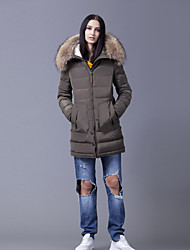 Cappotto Da donna Piumino Semplice Manica lunga Cotone / Poliestere