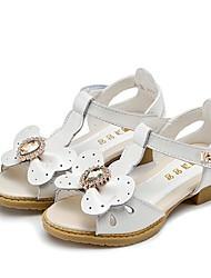 Girl's Sandals Summer Sandals Leather Dress Flat Heel Rhinestone Pink / White Walking