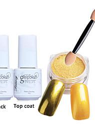 5pcs/set Shinning Mirror Nail Glitter Powder Black UV Gel Nail Art Chrome Pigment Kit with Brush
