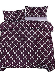 Brown Bedding Rhombic Printed Duvet Cover Set Super Soft Bedclothes Plain Style Twin Full Queen King Home Textiles