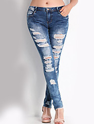 Women's Cut Out Solid Blue Jeans PantsSimple