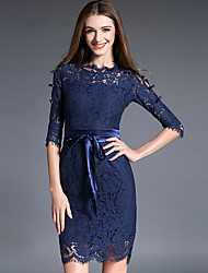 Women's Going out Sophisticated Lace DressSolid Round Neck Above Knee  Sleeve Blue / Red Polyester Fall