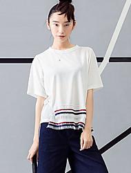 Damen Solide Einfach Lässig/Alltäglich T-shirt,Rundhalsausschnitt Sommer ½ Länge Ärmel Weiß Baumwolle Undurchsichtig