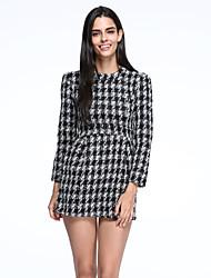 Women's Vintage/Casual Inelastic Long Sleeve Above Knee Dress (Tweed/Cotton)