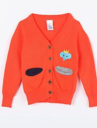 Mädchen Pullover & Cardigan-Lässig/Alltäglich einfarbig Baumwolle Herbst Orange