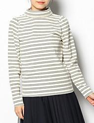 Damen Gestreift Einfach / Niedlich Lässig/Alltäglich T-shirt,Rollkragen Herbst / Winter LangarmBlau / Weiß / Schwarz / Grau / Grün /