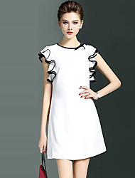 Women's Ruffle Plus Size / Going out Simple Sheath DressSolid Round Neck Above Knee Sleeveless White / Black Polyester