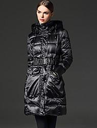 frmz твердый красный / черный вниз coatsimple с капюшоном с длинным рукавом женщин