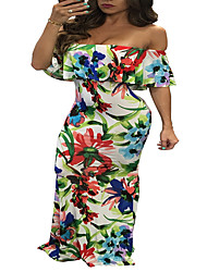 Women's Going out / Party/Cocktail / Club Sexy / Simple Swing DressFloral / Letter Boat Neck Maxi Short Sleeve Gray