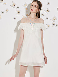 Trapèze Robe Femme Soirée / Cocktail Sexy,Mosaïque Bateau Au dessus du genou Manches Courtes Blanc Polyester Eté Taille NormaleNon