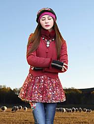 Damen Gefüttert Mantel,Standard Boho Ausgehen Stickerei-Polyester Baumwolle Langarm Rot Rollkragen