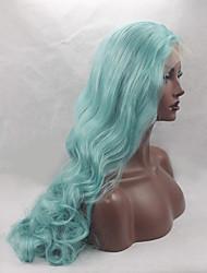 neue, qualitativ hochwertige 24inch wellige hellblaue Farbe synthetische Spitzefrontseiten-Perücken hitzebeständig Perücken Damen