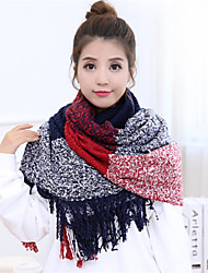 Autumn And Winter Mohair Yarn Circle Multicolor Plaid Fringed Scarves Warm Scarf