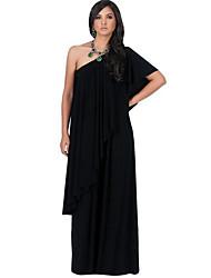 Courte Robe Femme Soirée Grandes Tailles Sexy simple,Couleur Pleine Une Epaule Maxi Manches Courtes Polyester Eté Automne Taille Haute