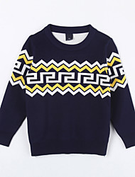 Girl's Casual/Daily Geometric Sweater & CardiganCotton Fall Blue