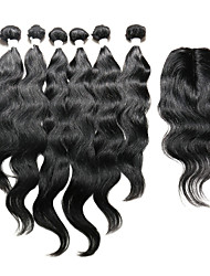 7 Pieces/Lot Natural Wave Hair Human Hair Weaves With Closure Color 1b Natural Black (12inch14inch16inch)