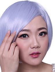 bob court Bang cosplay perruques de cheveux synthétiques résistant à la chaleur côté droit gris mémé