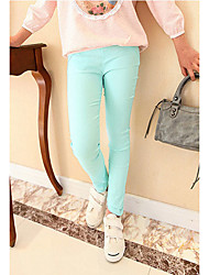 Girl's Casual/Daily Solid LeggingsCotton Winter / Spring / Fall Green / Pink / Purple / White / Yellow