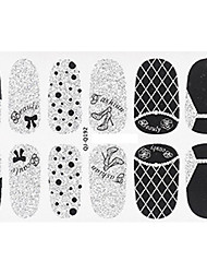 Fashion Heeled Shoes Lace Style Glitter Silver and Black Nail Decal Art Sticker Gel Polish Manicure