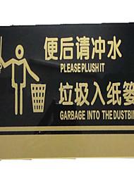 acrílica WC sinalização irá liberar lixo por favor para a prateleira acrílica sinais de alerta lixeira