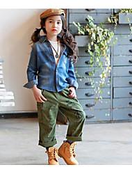Girl's Casual/Daily Print DressCotton Spring / Fall Green