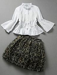 Damen Solide / Leopard Niedlich Ausgehen Set Rock,Ständer Frühling ¾-Arm Weiß Baumwolle / Polyester Mittel