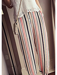 Women's Striped Multi-color Loose Pants,Cute / Street chic