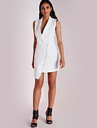 Women's Casual/Daily Street chic Spring / Summer Jackets,Solid Deep V Sleeveless White