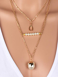 The three layer wishbone Pearl Pendant Necklace