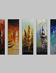Hand Painted Oil Painting Abstract Vessels with Stretched Frame Set of 5 1309-AB0944