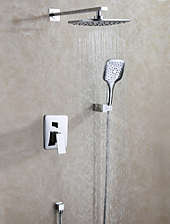 Bathroom Shower Faucet Set With Hot And Cold Valve / Hand Shower Included / Contemporary / Chrome / Wall Mounted