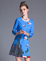aufoli осень женщины плюс размер сбора винограда способа шарика печати 3/4 рукав линия платье