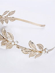 Europe And The United States Big Pearl Leaves Hair Hoop Baroque Golden Bride Headdress  Hair Accessories