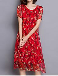 Mulheres Solto Vestido,Casual / Tamanhos Grandes Chinoiserie Floral Decote Redondo Médio Manga Curta Vermelho Linho Verão