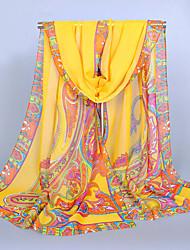 Women's Chiffon India Totem Print Scarf Khaki/Green/Blue/Pink/Amy Green/Yellow
