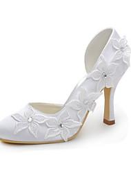 Women's Heels Spring /  Round Toe Stretch Satin Wedding / Party & Evening Stiletto Heel Crystal / Satin Flower White