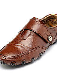 Herren Loafers & Slip-Ons Komfort Leuchtende Sohlen Schweineleder Frühling Herbst Normal Komfort Leuchtende Sohlen Flacher AbsatzSchwarz