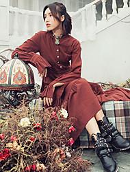 Aporia.As Women's Stand Long Sleeve Tea-length Dress-MZ01300