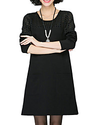 Fall Casual/Daily Women's Dresses Round Neck Long Sleeve Hollowing Splicing Loose Knee Length Dress