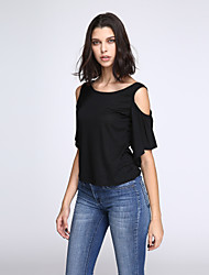 Damen Solide Sexy Ausgehen T-shirt,Rundhalsausschnitt Sommer Kurzarm Blau / Rot / Schwarz / Grau / Grün Kunstseide / Polyester Dünn