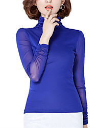 Spring/Fall Women's Work Casual Plus Size Slim Blouse Solid Color Turtleneck Long Sleeve Slim Gauze Tops