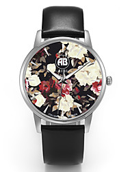 Louis Silver Case Colorful Flower Dial Black Leather Strap Watch