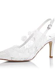 Damen-Sandalen-Hochzeit / Kleid / Party & Festivität-Tüll-StöckelabsatzElfenbein