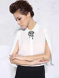 NEW BEFORE  Women's Work Simple Spring / Summer BlouseSolid Shirt Collar Length Sleeve