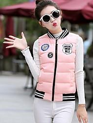 Women's Print Blue / Pink / Red / White / Black /  Purple Padded Coat,Simple Round Neck Sleeveless Down Vest