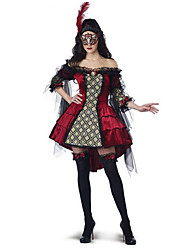 Cosplay Costumes / Party Costume Vampire Festival/Holiday Halloween Costumes Red Print Dress / Leg Warmers / Mask / More Accessories