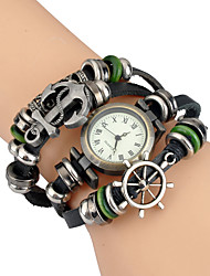 vintage men watch Multi layer woven rudder anchor Bracelet Watch Punk relogio masculino