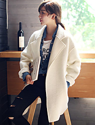 Women's Work Simple / Street chic / Sophisticated CoatSolid Shirt Collar Long Sleeve Fall / Winter White